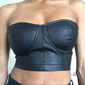 Leather bustier top